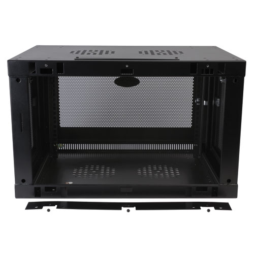 Wall-mount cabinet secures and organizes 6U of 19-inch rack equipment
